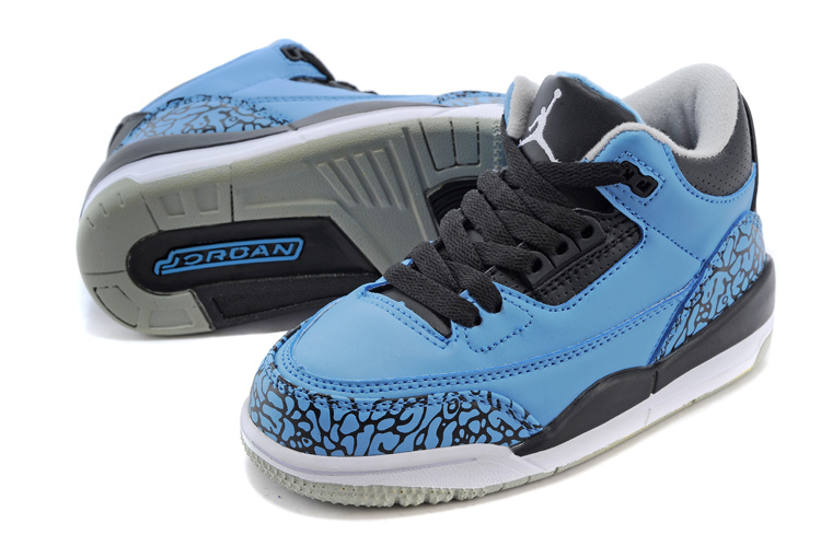 Classic Jordan 3 Royal Blue Black Shoes For Kids