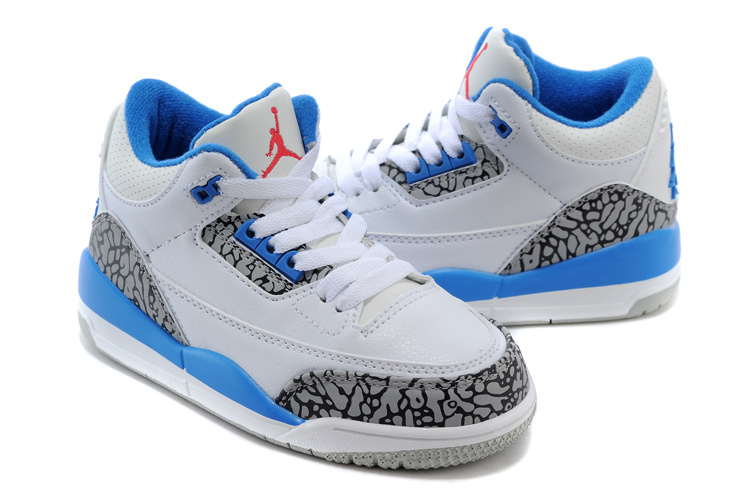 Classic Jordan 3 White Cement Grey Blue Shoes For Kids