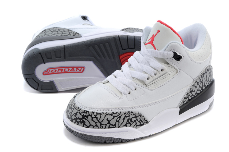 Classic Jordan 3 White Cement Grey Red Shoes For Kids