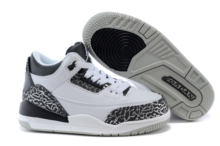 Classic Jordan 3 Wolf Grey Shoes For Kids
