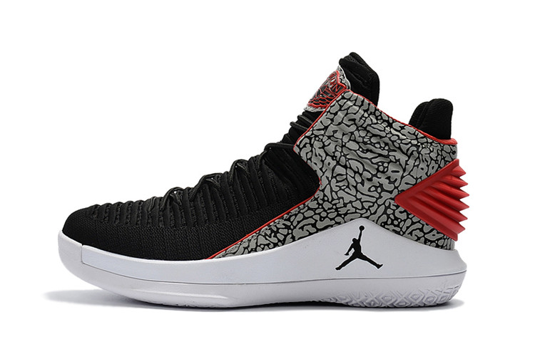2017 Jordan 32 Black Cement Grey Red Shoes