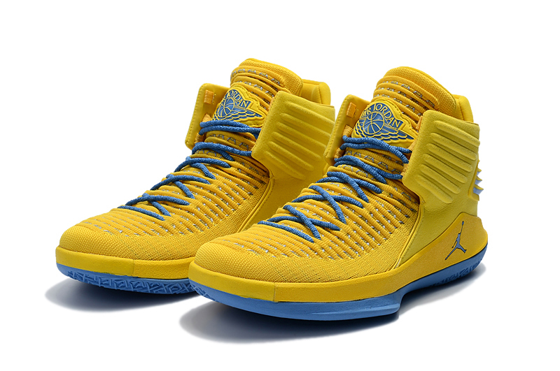 2017 Jordan 32 Yellow Jade Blue Shoes
