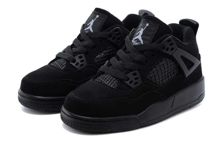 Classic Jordan 4 All Black Shoes For Kids