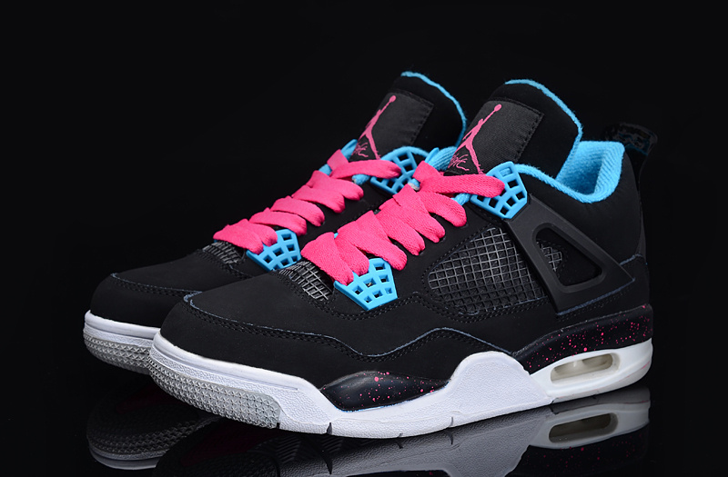 aa612c015579 Nike Air Jordan 4 IV Retro Women Shoes White Blue Pink