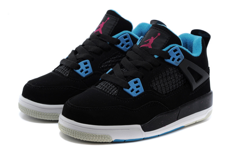 Classic Jordan 4 Black Blue Shoes For Kids