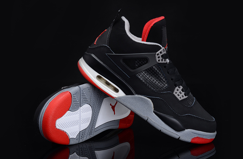 Air Jordan 4 Black Grey Red For Women