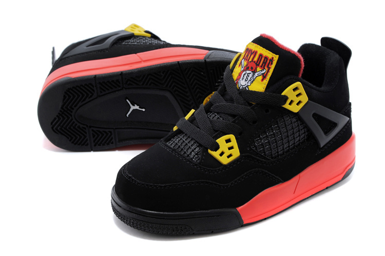 Classic Jordan 4 Black Yellow Red Shoes For Kids