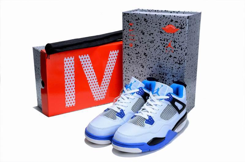 Air Jordan 4 Hardcover Box White Blue Black Shoes