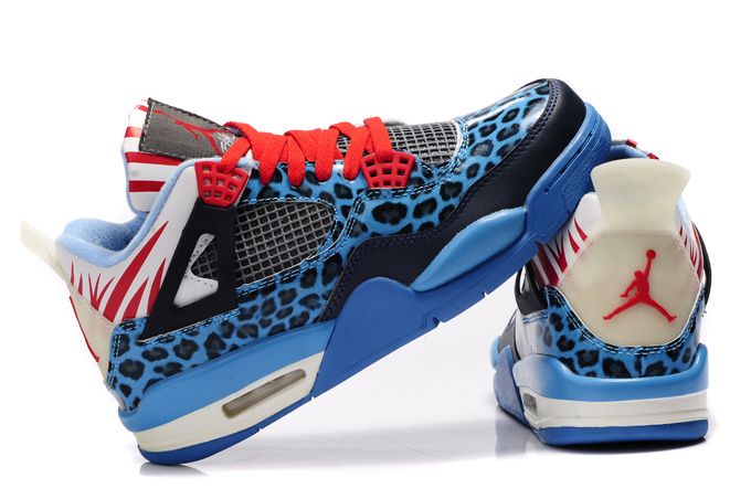 Air Jordan 4 Leopard Print Blue Black White Red Shine Shoes