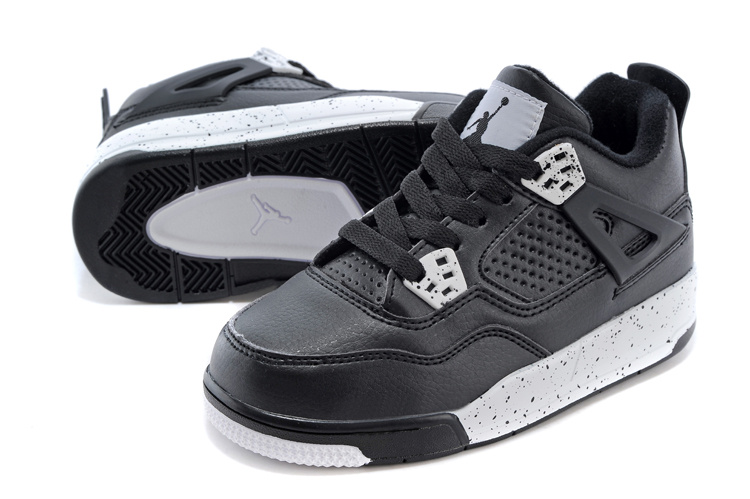 Classic Jordan 4 Oreo Black White Shoes For Kids