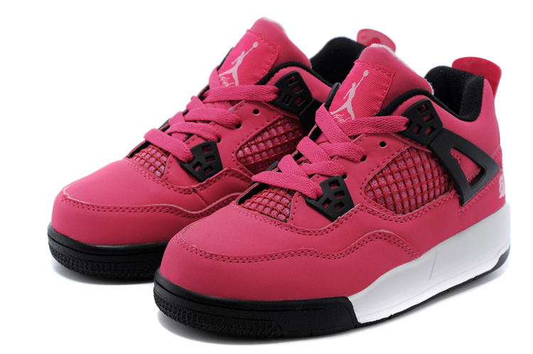 Classic Jordan 4 Pink Black White Shoes For Kids