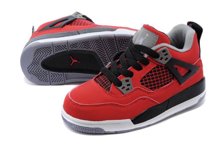 Classic Jordan 4 Red Black White Shoes For Kids