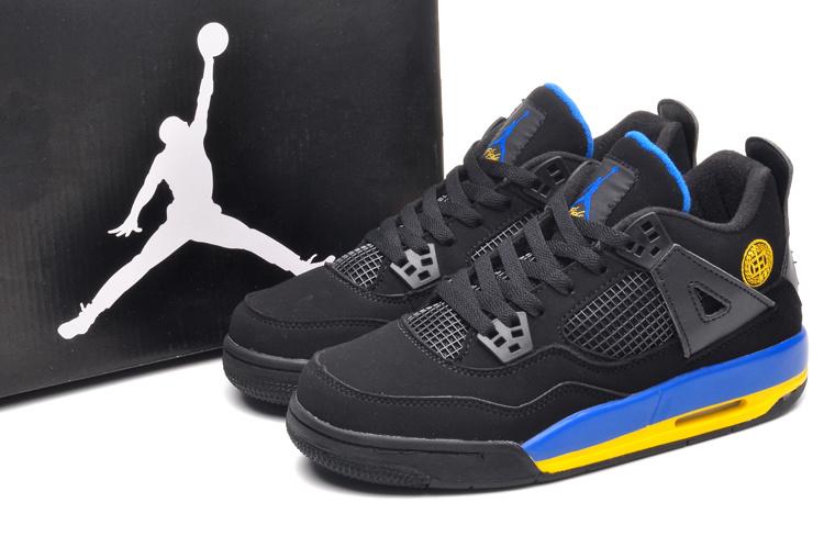 201Jordans 4 Black Blue Yellow Lovers