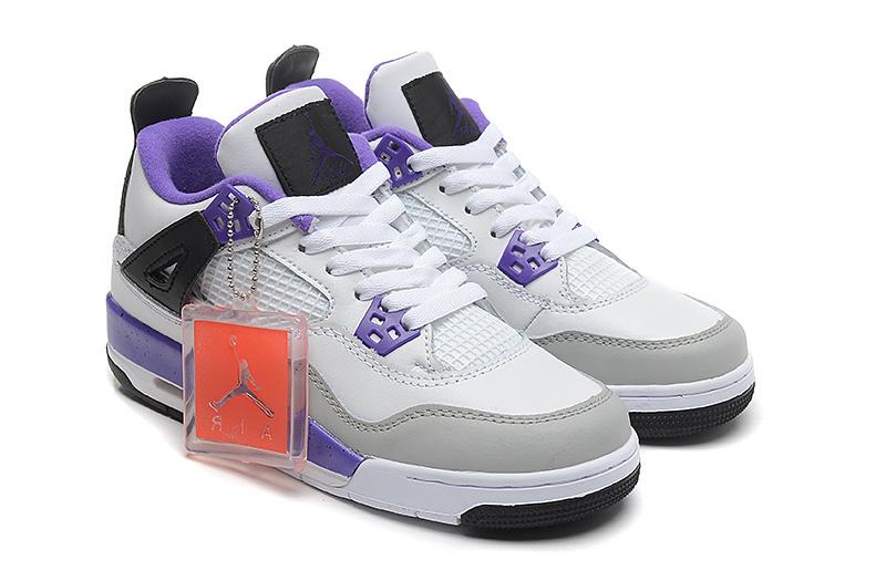 2015 Women Jordans 4 Retro White Purple
