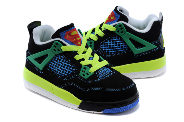 Classic Jordan 4 Superman Black Blue Green Shoes For Kids