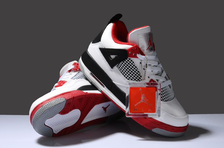 Air Jordan 4 White Red Black For Women