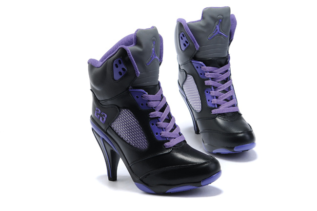 Air Jordan 5 High Heel Purple Black For Women
