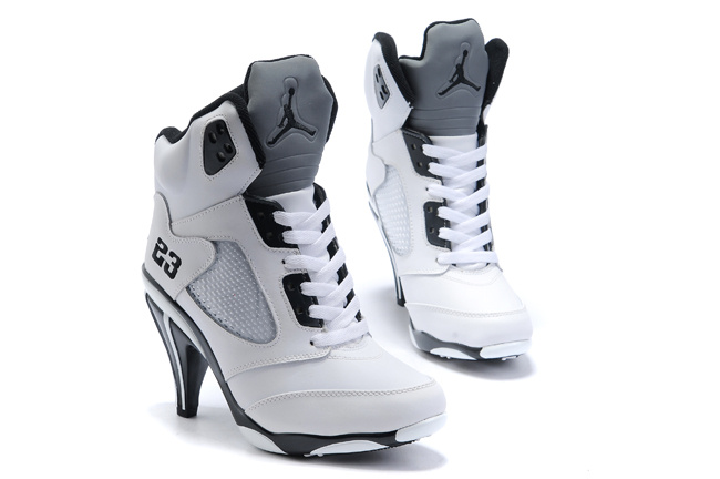 Air Jordan 5 High Heel White Grey White Black For Women