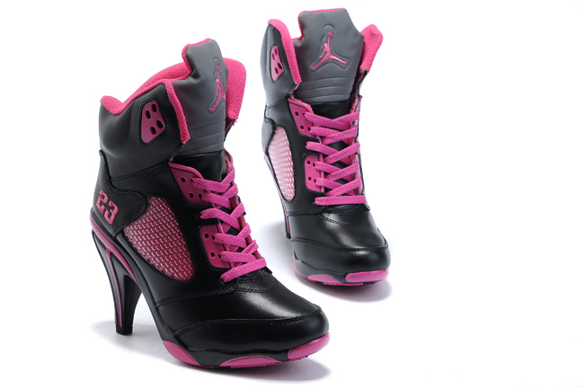 Air Jordan 5 High Heel White Pink Black For Women
