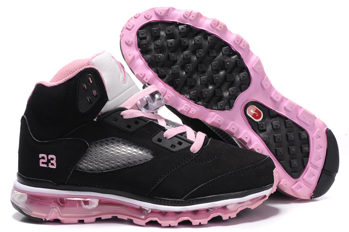 Air Jordan 5 Max Black Grey Pink For Women