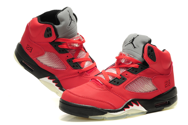 Air Jordan 5 Red Black White For Women