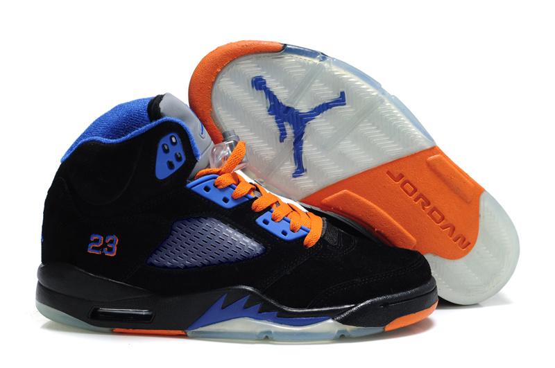 Air Jordan Retro 5 Womens Black Orange Shoes In