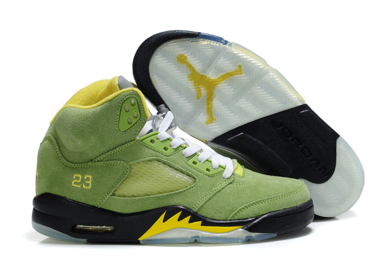 Air Jordan 5 Suede Green Black Shoes