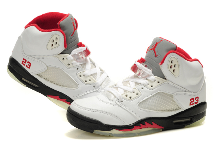 Air Jordan 5 White Black Red For Women