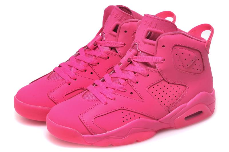 2015 Women Jordans 6 All Hot Pink