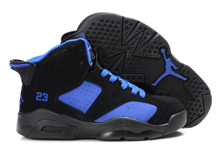 Comfortable Air Jordan 6 Black Blue For Kids