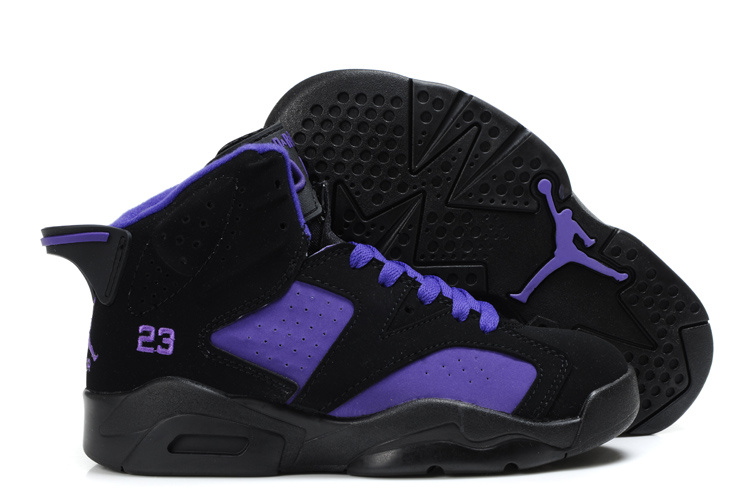 Comfortable Air Jordan 6 Black Purple For Kids