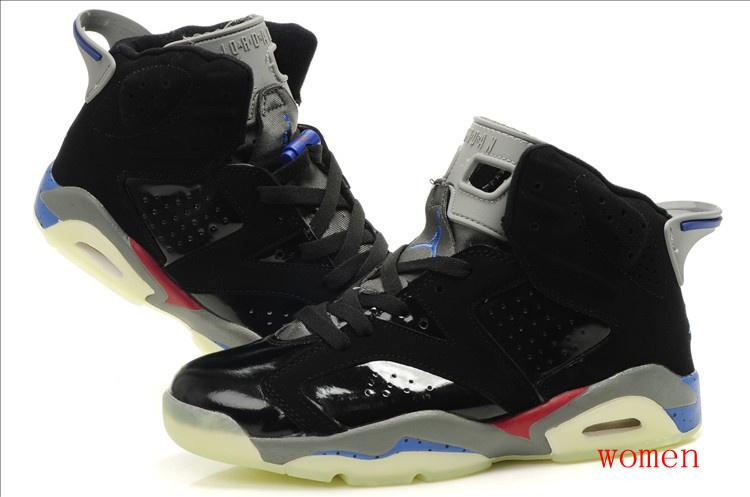 Air Jordan 6 Midnight Black Grey Red For Women