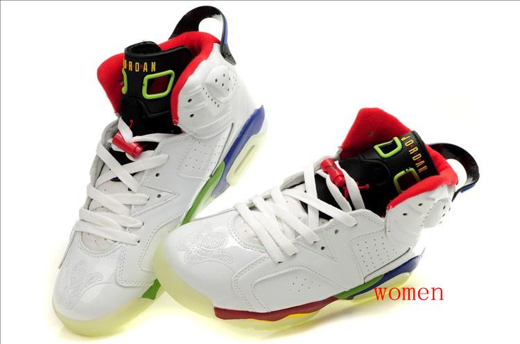 Air Jordan 6 Olympic Midnight White Red Green For Women