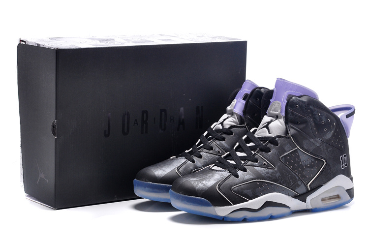2015 Jordans 6 Slam Dunk Black White Purple