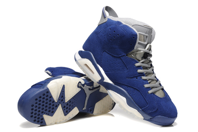 Air Jordan 6 Suede Blue White Shoes