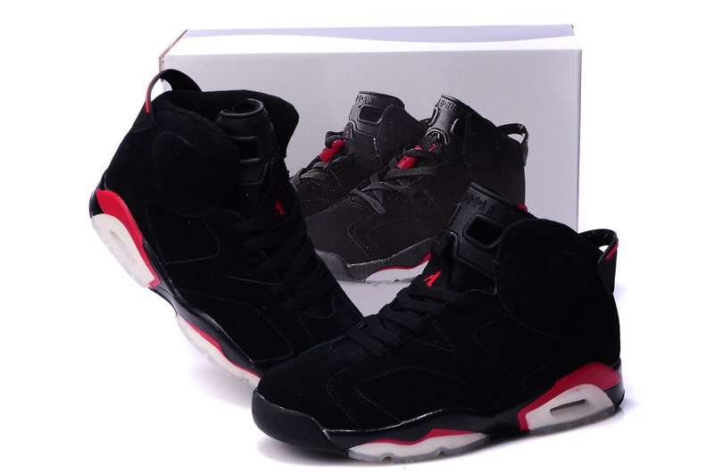 Air Jordan 6 Suede Dark Black Red White Shoes