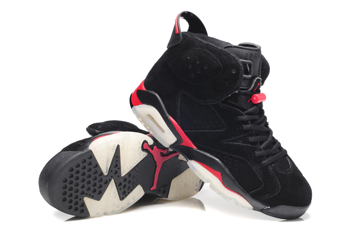 Air Jordan 6 Suede Dark black Red Shoes