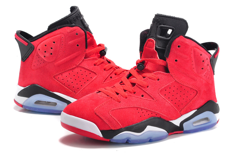2015 Lovers Jordans 6 Suede Red Black White
