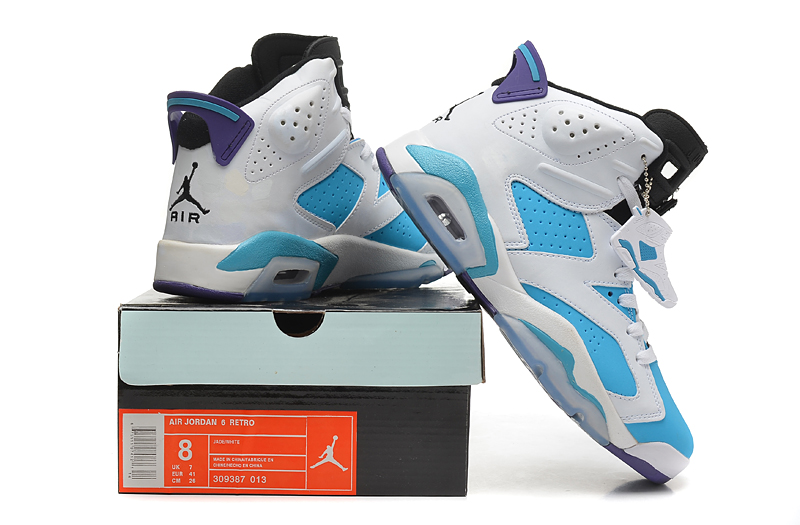 Air Jordan 6 White Blue Black Shoes