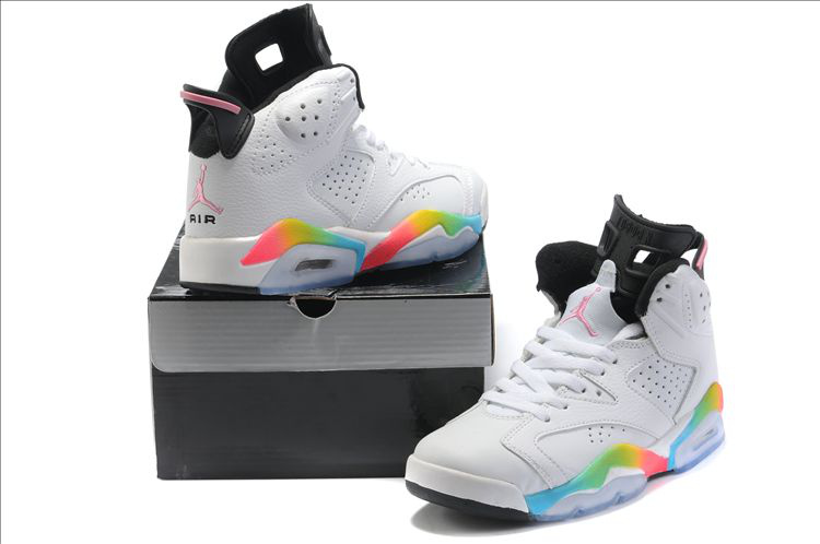 Air Jordan 6 White Colorful Black For Women