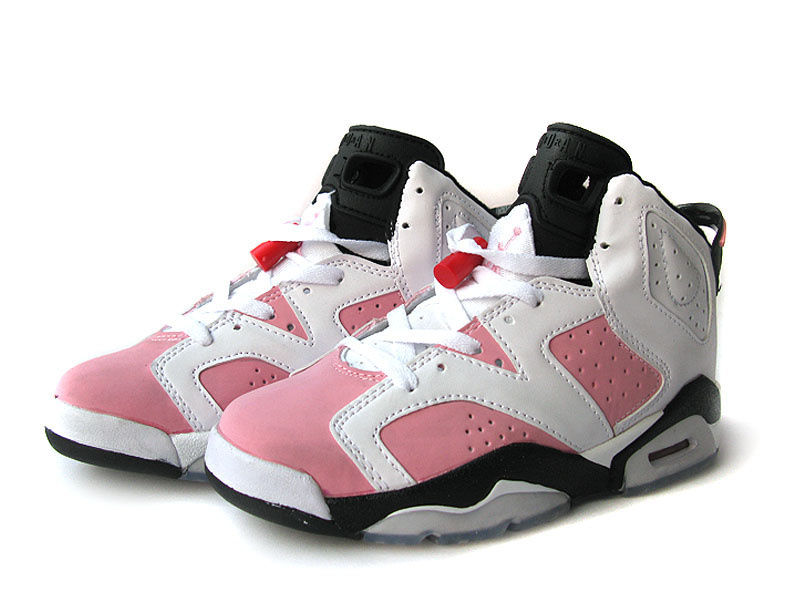 Air Jordan 6 White White Pink Black For Women