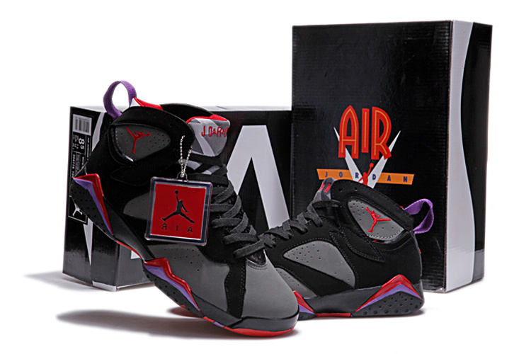 Air Jordan 7 Duplicate Black Grey Red Shoes