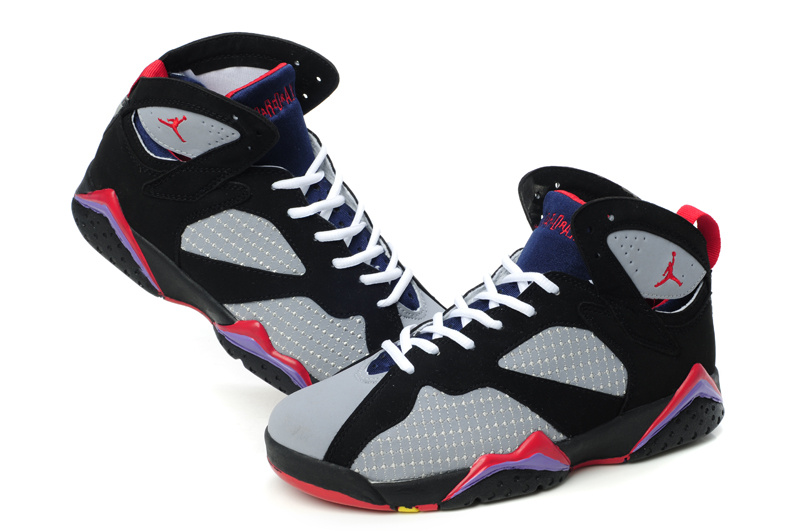 Air Jordan 7 Embroided Grey Black Red For Women