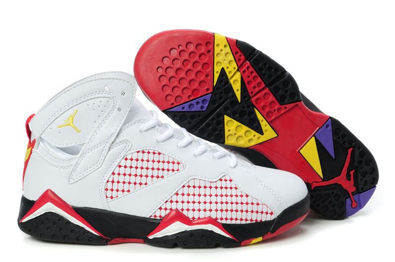 Air Jordan 7 Embroided White Red Yellow For Women