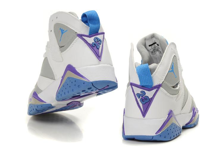 Air Jordan 7 White Grey Light Blue Purple For Women
