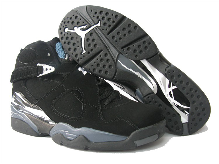 Air Jordan 8 Black Grey White For Women