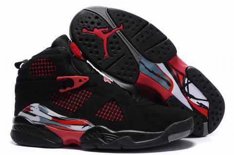 Air Jordan 8 Embroider Black Red Shoes