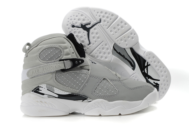 Comfortable Air Jordan 8 Grey White For Kids