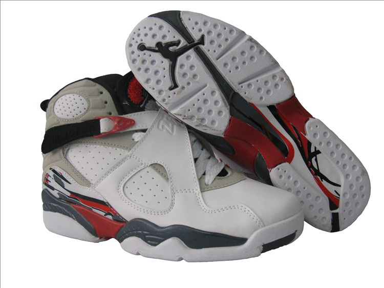 Air Jordan 8 White Grey Red For Women