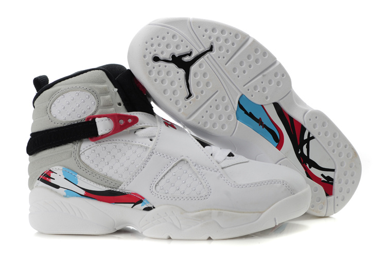 Comfortable Air Jordan 8 White Red For Kids